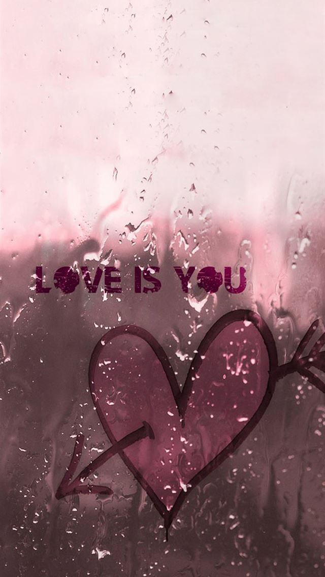 Love Is You Wet Window Glass iPhone wallpaper