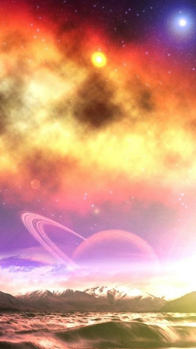 Fantasy Dreamy Flare Starry Space Over Mountain Ocean Iphone