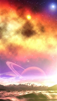 Fantasy Dreamy Flare Starry Space Over Mountain Ocean  iPhone 5s wallpaper