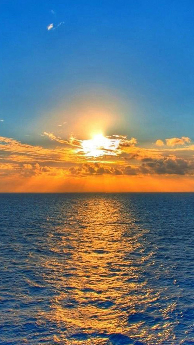 Nature Fantasy Sunrise Over Ocean At Dawn iPhone wallpaper