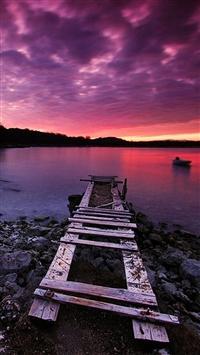 Nature Purple Dusk Waste River Bank iPhone 5s wallpaper