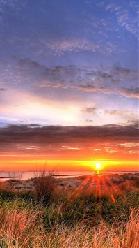 Brilliant Sunset Over Sea Beach Skyscape iPhone 5s wallpaper