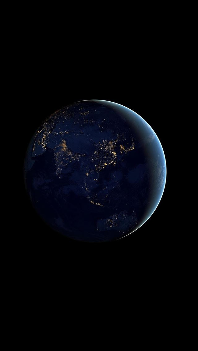 Asia At Night Earth Space Dark iPhone wallpaper
