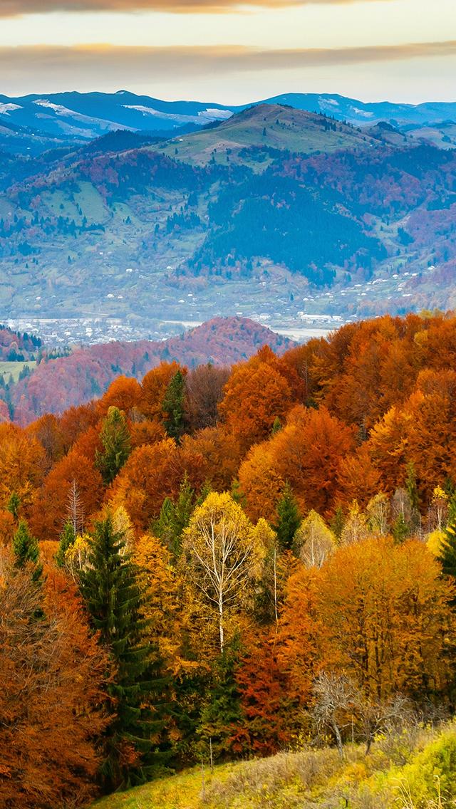 Fall Mountain Fun Red Orange Tree Nature Iphone Wallpapers