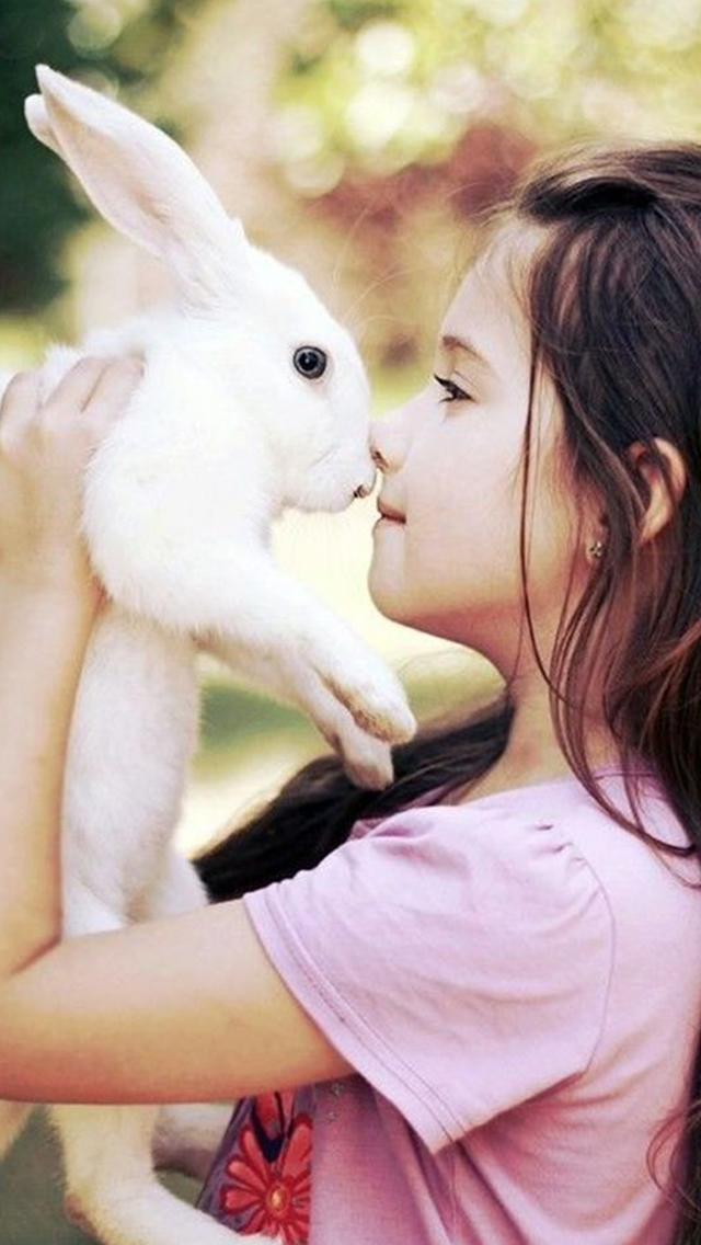 Cute Naive Girl Close To White Rabbit iPhone wallpaper
