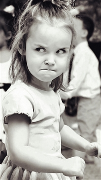 Cute Angry Girl Expression Black And White iPhone 5s wallpaper