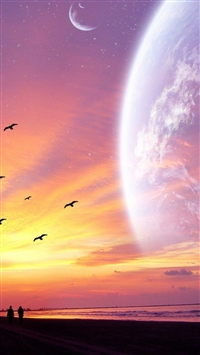 Spectacular Sunset Starry Outer Space Scene Sea Beach iPhone 5s wallpaper