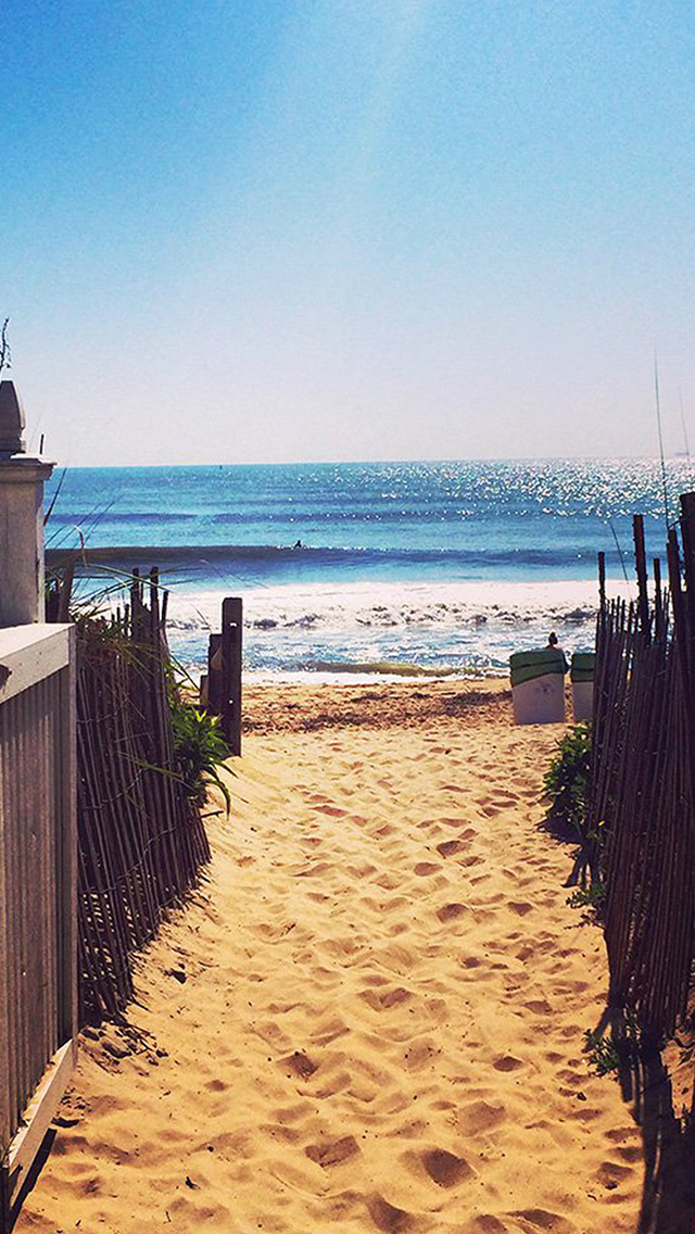 Nature Fence Beach Sandy Way To Ocean iPhone wallpaper
