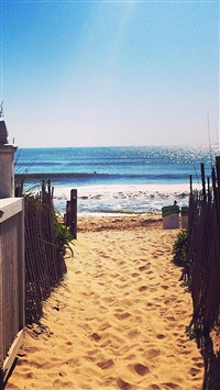 Nature Fence Beach Sandy Way To Ocean iPhone 5s wallpaper