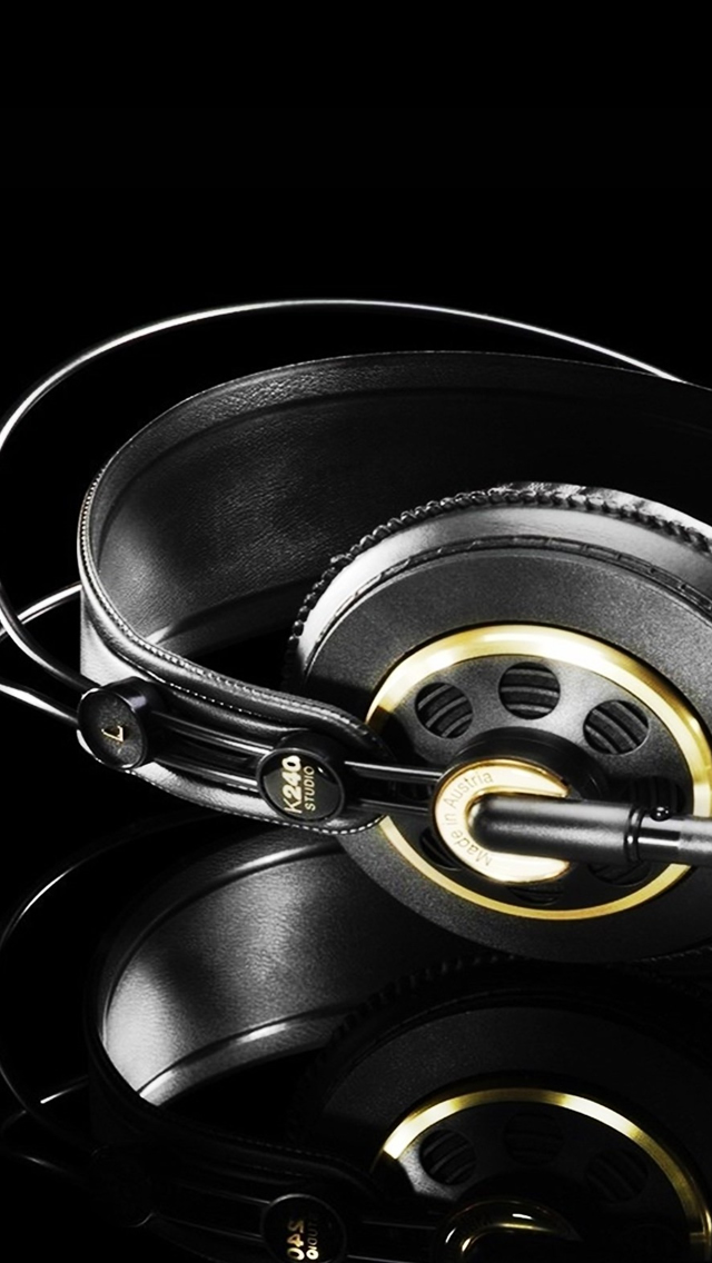 Studio Headphones Black Gold iPhone wallpaper