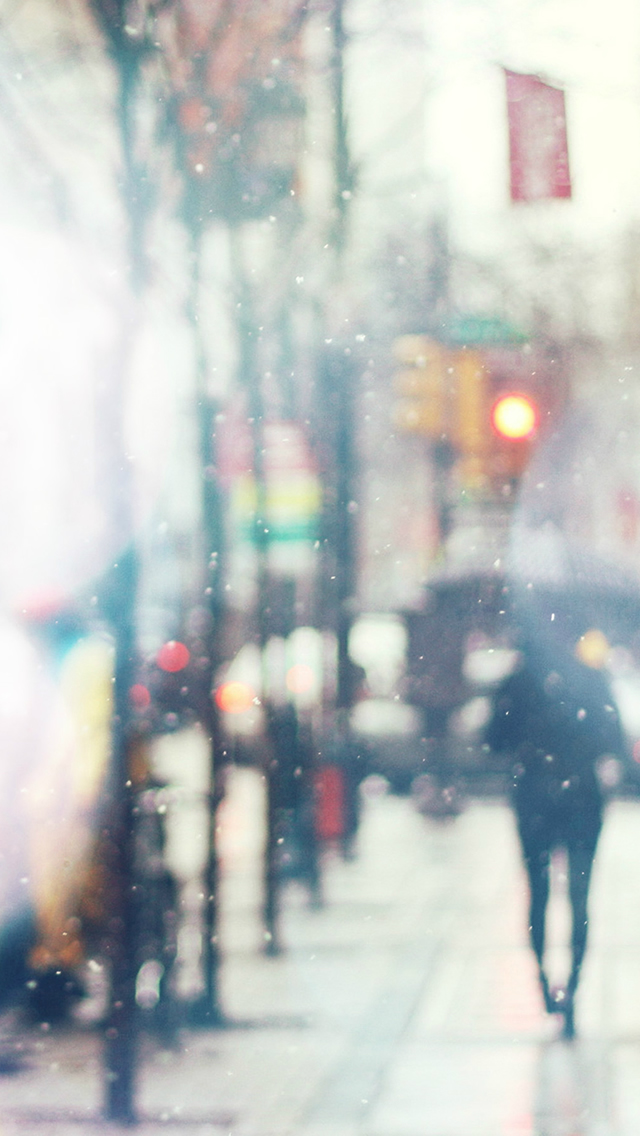 Snow Street Bokeh Flare Winter Walk City Day Nature iPhone wallpaper
