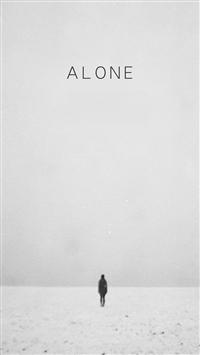 Walking Alone Vast Winter Field Scene iPhone 5s wallpaper