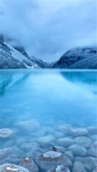 Nature Early Morning Peaceful Lake Mist Mountain Landscape iPhone 5s wallpaper