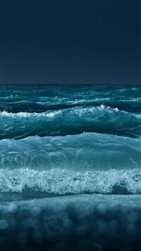 Nature Night Ocean Beach Wave Bokeh iPhone 5s wallpaper