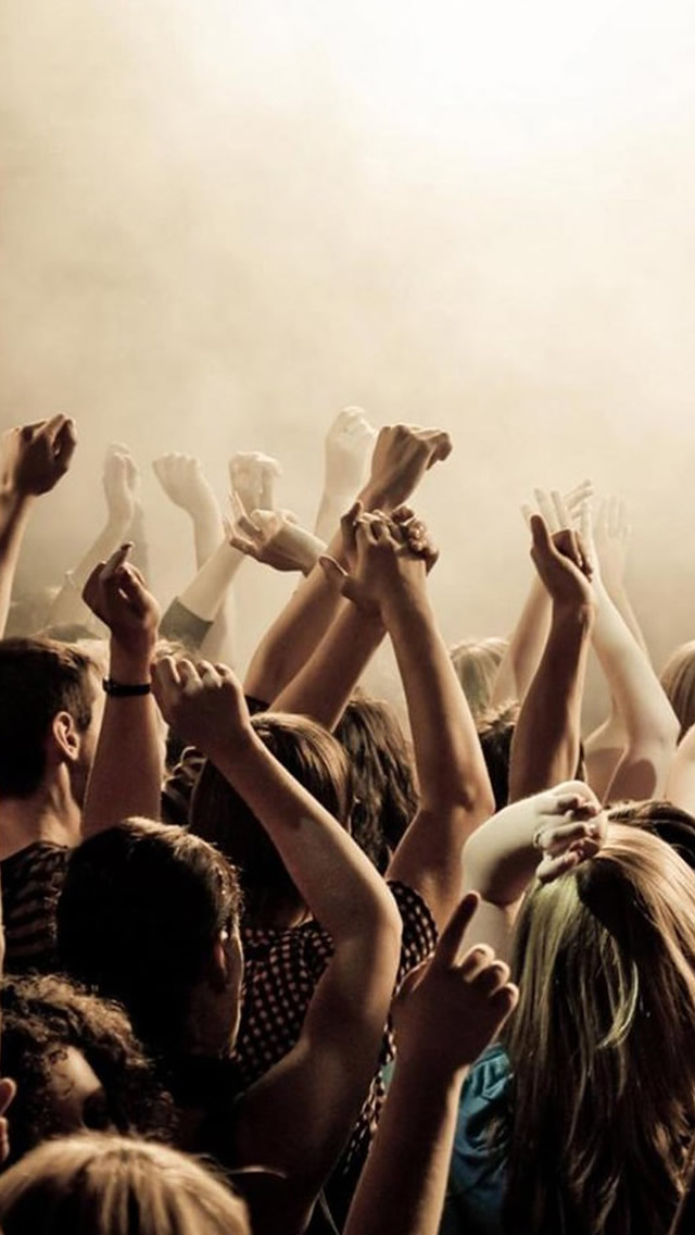 Lively Concert Cheerful Crowd Art iPhone wallpaper