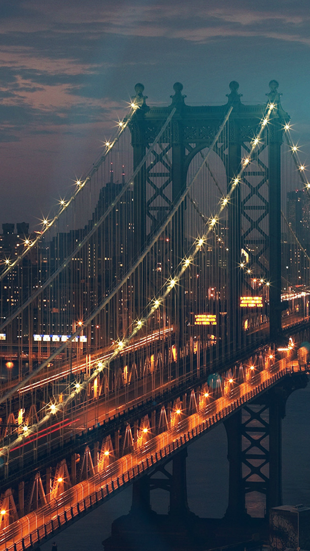 Bridge City River Flare Blue Night View Nature iPhone wallpaper