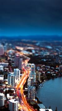 Nature Riverbank Night Light City View iPhone 5s wallpaper