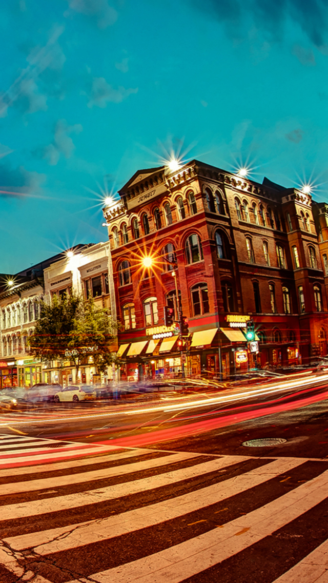 Lively Night Town Street House City Architecture iPhone wallpaper