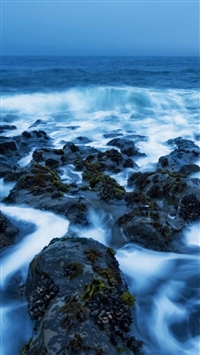 Sea Rocks Covered In Mist iPhone wallpaper