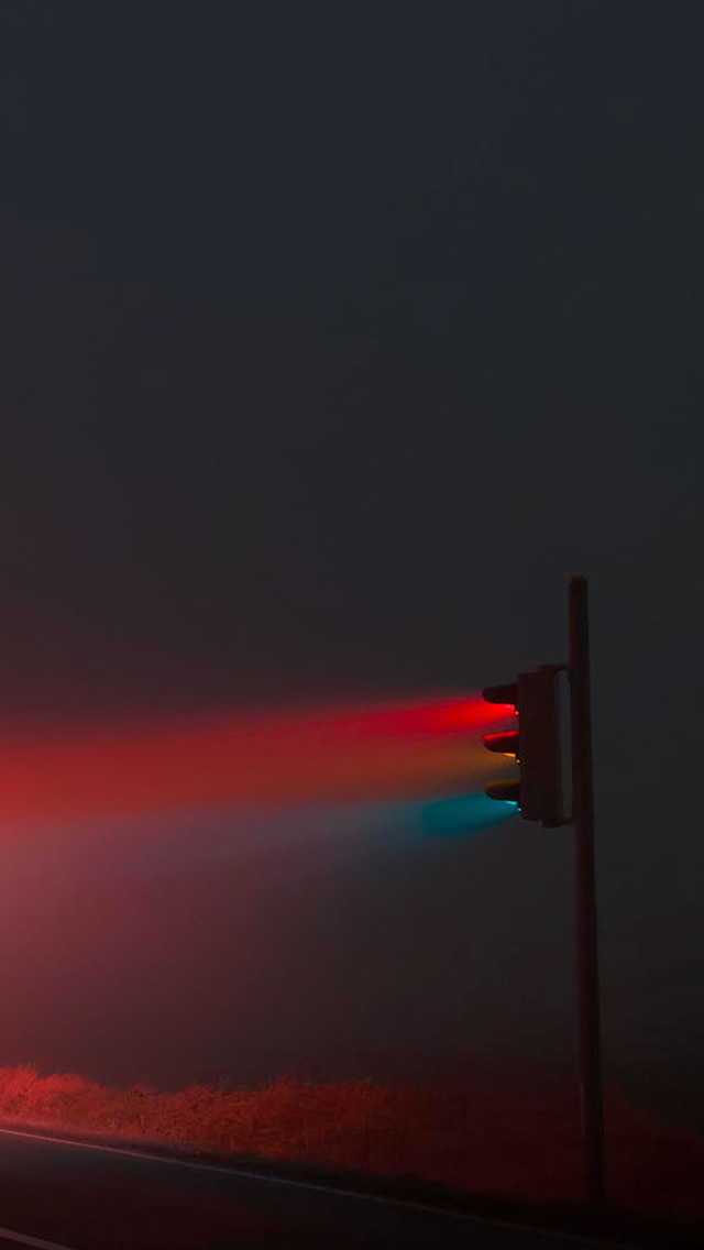 Rural Stoplight Road Scenery iPhone wallpaper