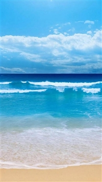 Sunny Cool Ocean Beach Wave Skyscape iPhone 5s wallpaper