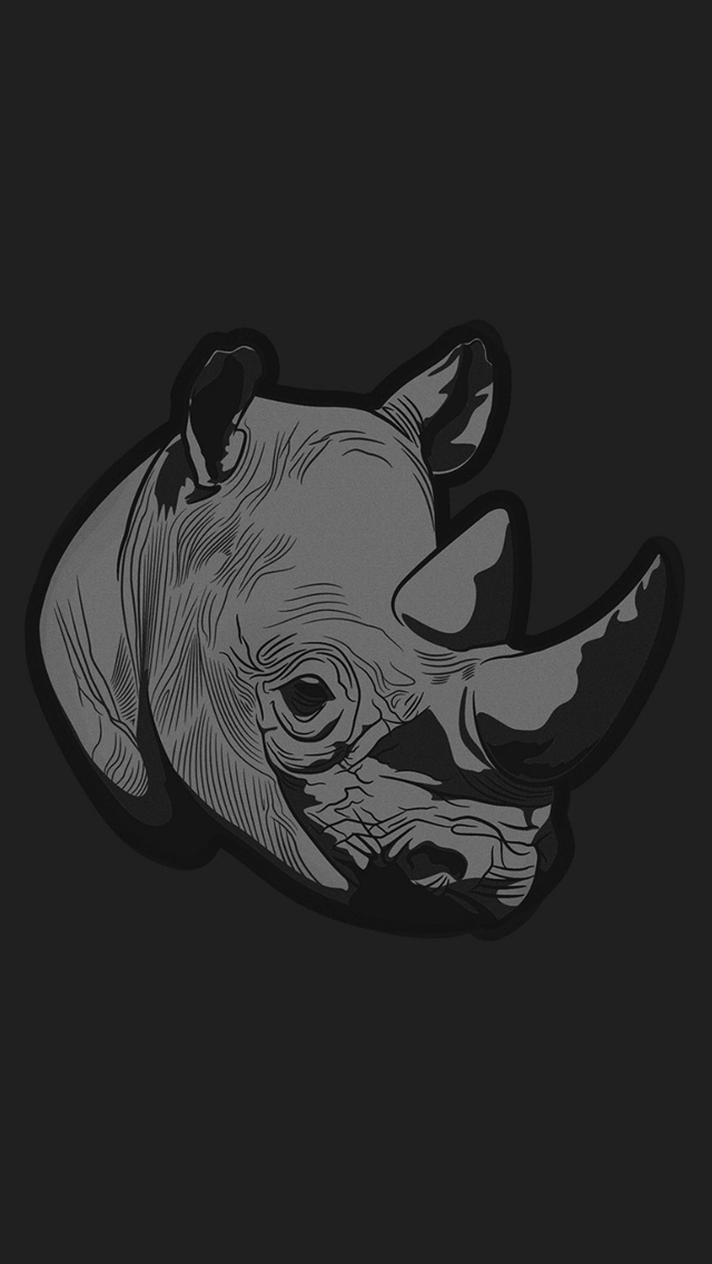Thoughtful Rhino Dark Minimal Illust Art iPhone wallpaper