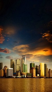 City View Architecture Riverbank Buildings iPhone 5s wallpaper