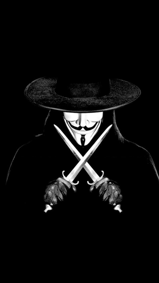 V For Vendetta Man With Knifes iPhone wallpaper