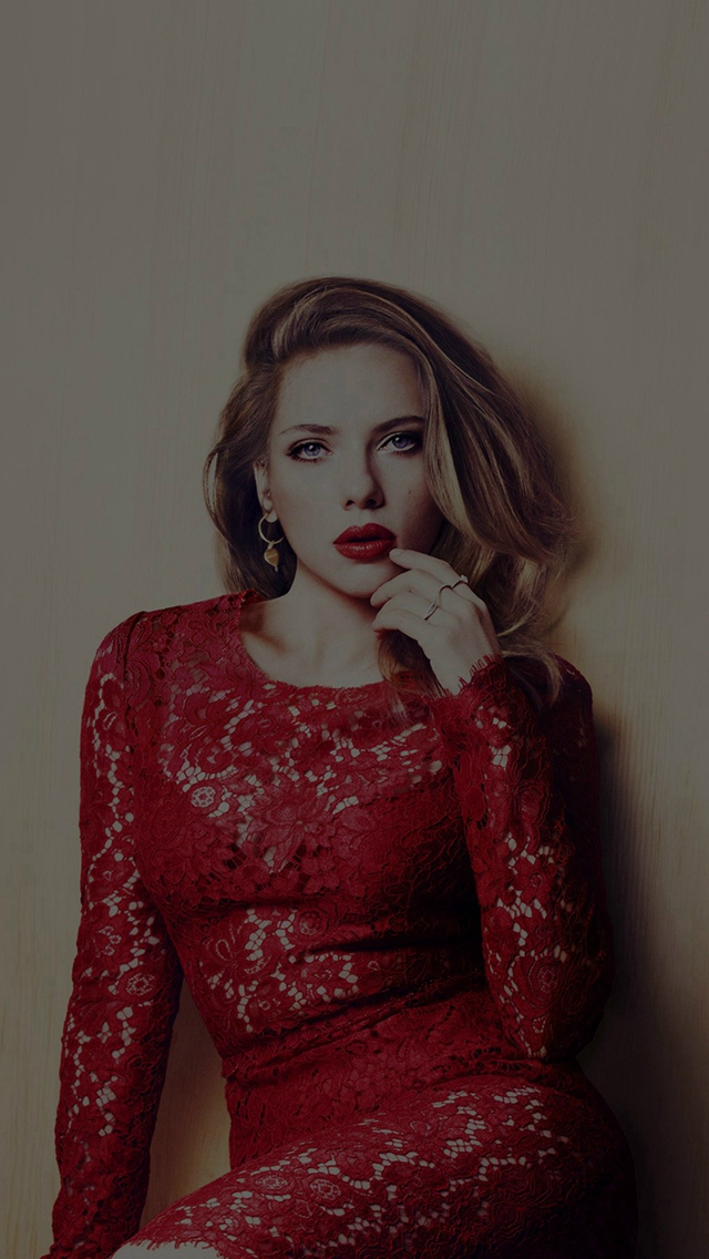 Scarlett Johansson Dark Celebrity Sexy Red Dress iPhone wallpaper