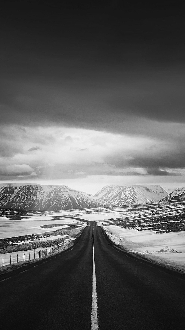 Road To Heaven Snow Mountain Dark Nature Winter iPhone wallpaper