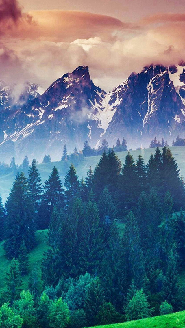 Forest Hills Snowy Mountains And Sunset Clouds iPhone wallpaper