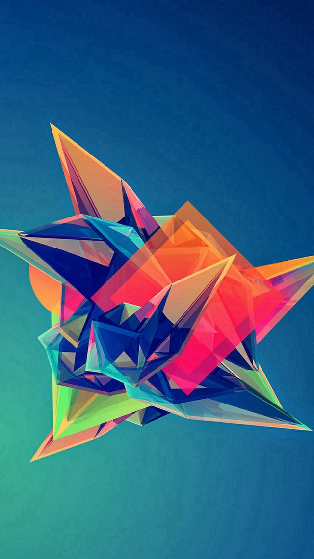 Colorful Cool Abstract Polygonal Shape iPhone wallpaper