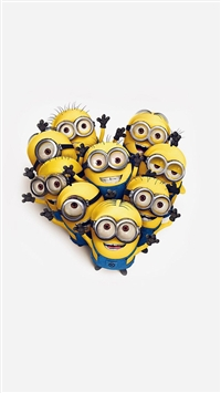 Minions Love Heart Cute Film Anime Art iPhone 5s wallpaper