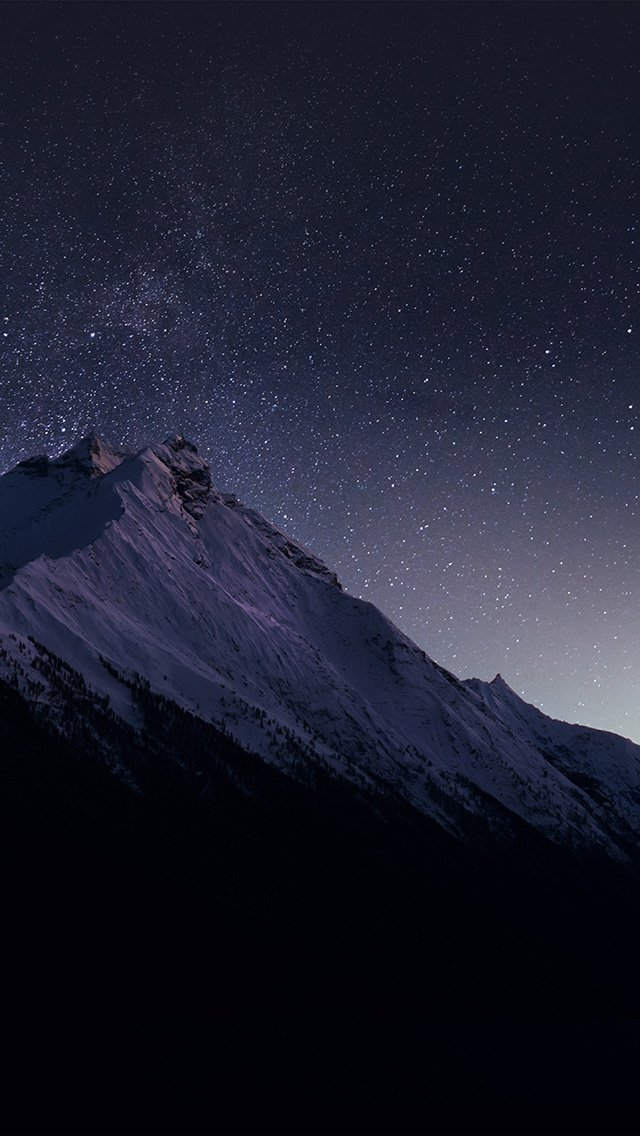 Mountain Night Snow Dark Star iPhone wallpaper