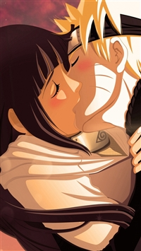 Naruto Uzumaki Naruto Hyuuga Hinata Girl Boy Kiss iPhone 5s wallpaper