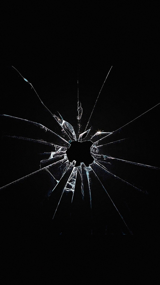 Apple Logo Window Dark Broken iPhone wallpaper