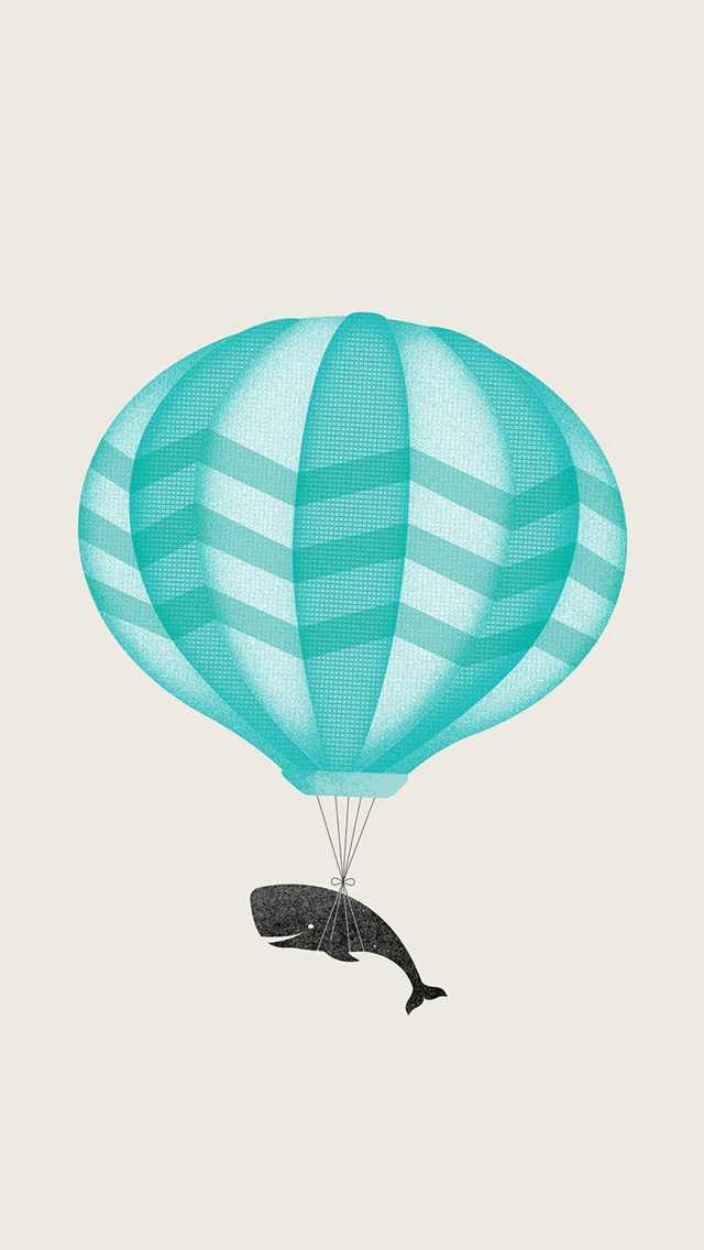 Cute Illustration Whale Balloon Art iPhone wallpaper