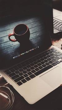 Macbook Coffee Cup Desk Elegant iPhone 5s wallpaper