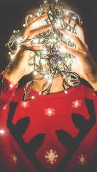 Christmas Lights Reindeer Sweater iPhone 5s wallpaper