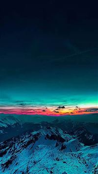 Sky On Fire Mountain Range Sunset iPhone 5s wallpaper