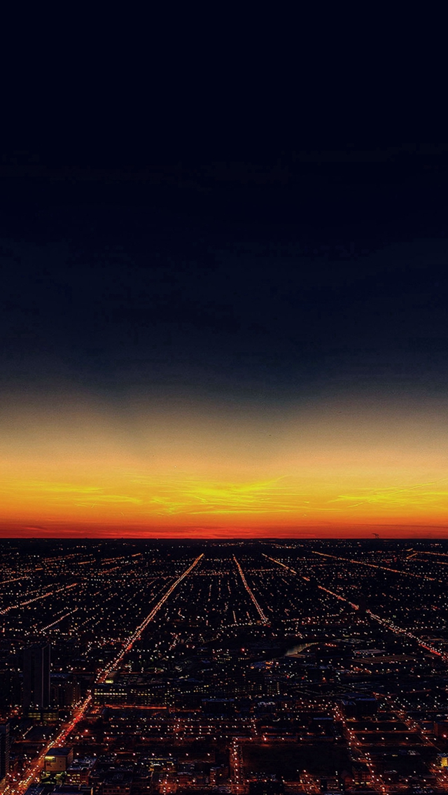Night Sky Flying Sunset City iPhone wallpaper