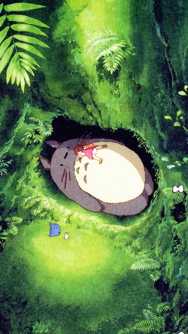 Japan Totoro Art Green Anime Illustration iPhone wallpaper