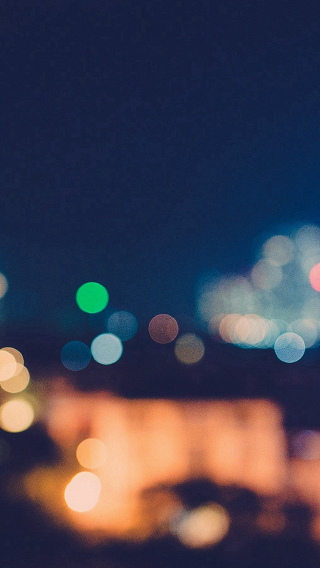 Bokeh City Night Light Art Blue Pattern iPhone wallpaper