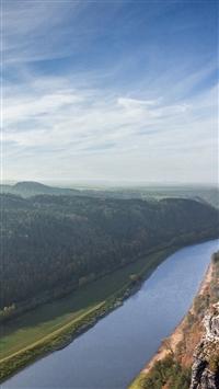 Summer Fall Great Mountain Sea Lake River Sky iPhone 5s wallpaper
