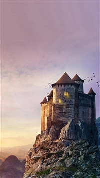 Castle Mountain Illustration Art Sky iPhone 5s wallpaper