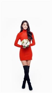 Seolhyun Aoa Red Christmas Cute Music White iPhone 5s wallpaper