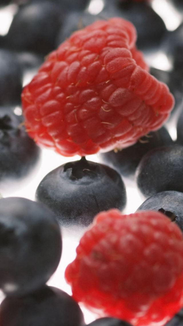 Raspberries Blueberries Berries iPhone wallpaper