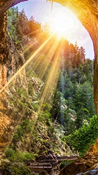 Mountain Cliff Cave Sunshine Scenery iPhone 5s wallpaper
