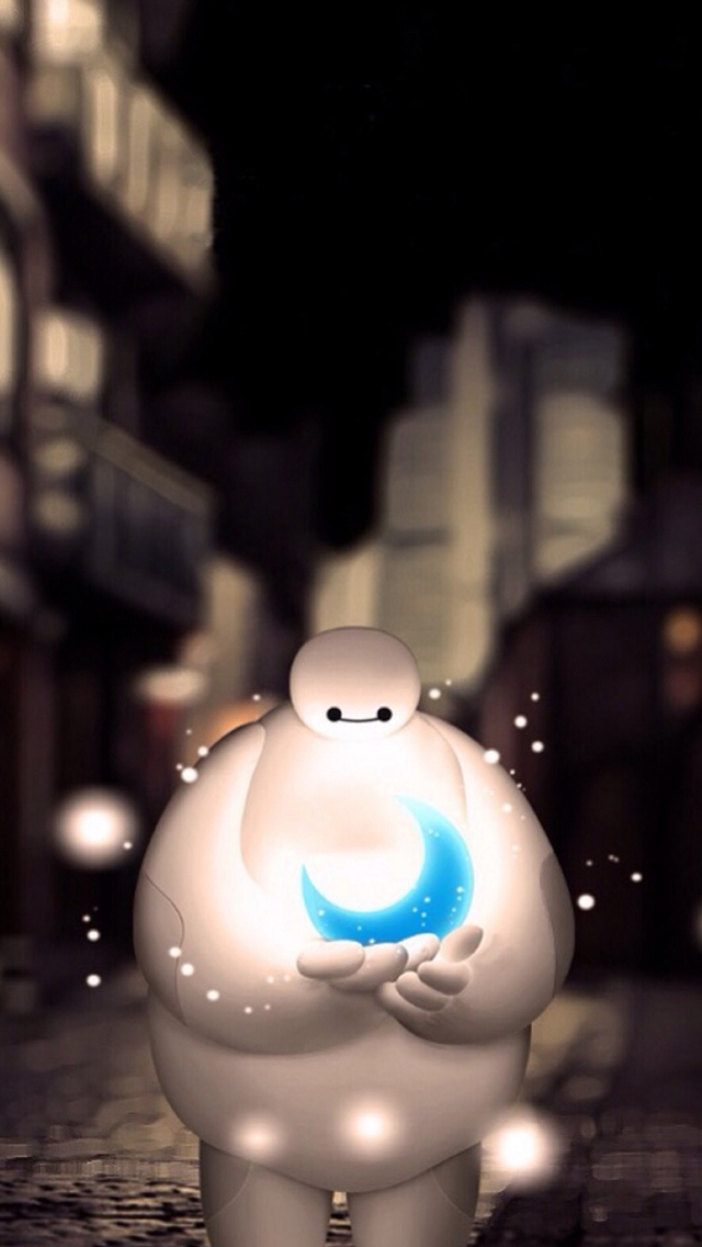 Baymax Holding Moon Dreamy Bokeh iPhone wallpaper