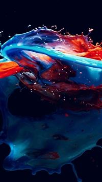 Paint Splash Art Illust Dark Blue Red Watercolor iPhone 5s wallpaper